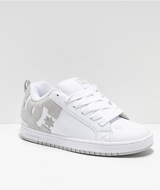 DC Court Graffik White & Grey Skate Shoes