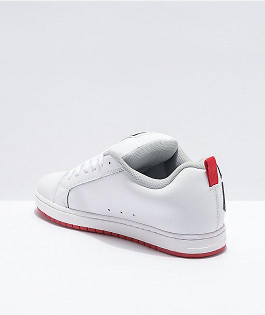 DC Court Graffik zapatos de skate en blanco, gris y rojo