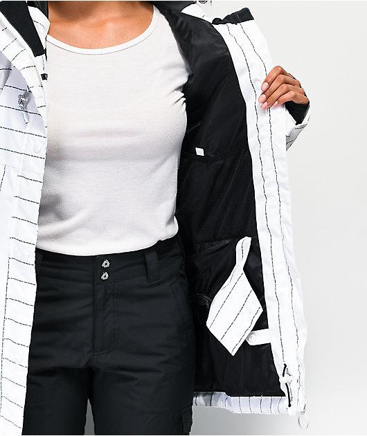 DC Cruiser White Pin Stripe 10K Snowboard Jacket