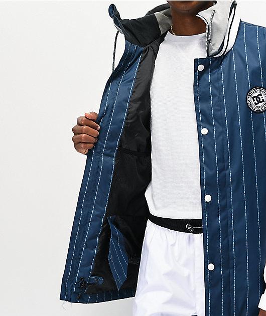 DC DCLA Dress 10k chaqueta de snowboard azul y blanca de rayas