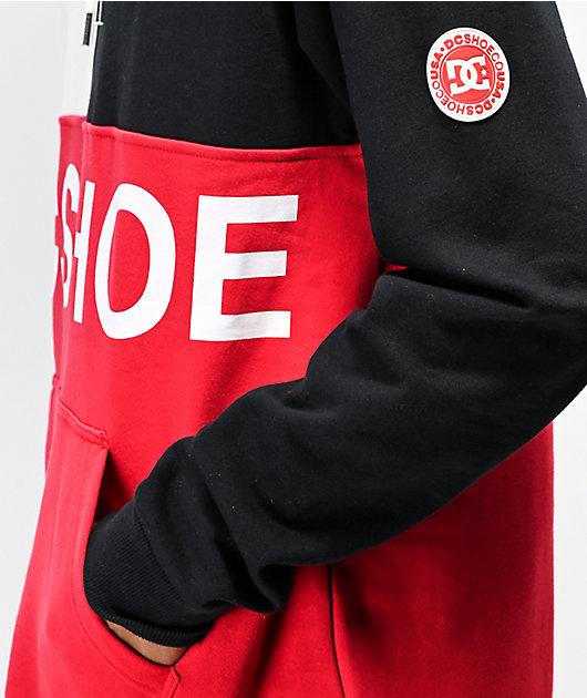 DC Hambledon Colorblock White, Black & Red Hoodie