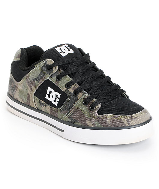 DC Shoes Pure Black \u0026 Green Camo Canvas