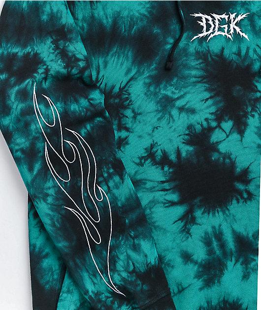 DGK Blaze Teal & Black Tie Dye Hoodie