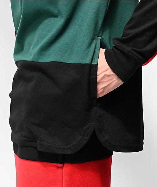 DGK Grand Black, Red & Green Hooded Long Sleeve T-Shirt