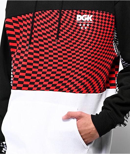 DGK Optical sudadera con capucha roja, blanca y negra