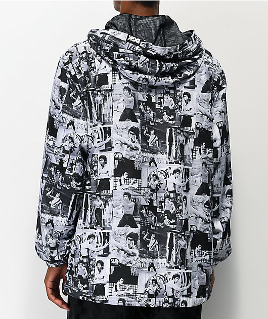 DGK x Bruce Lee Grey, Black & White Windbreaker Jacket