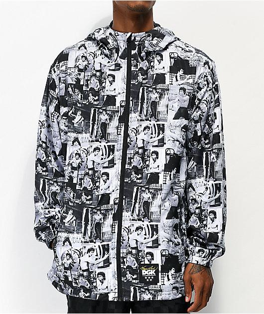 DGK x Bruce Lee chaqueta cortavientos gris, negra y blanca