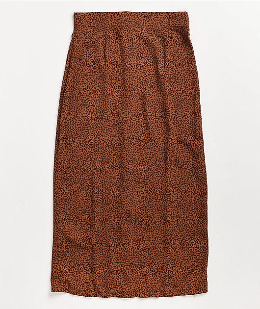 Daisy Street Button Down Silk Midi Skirt