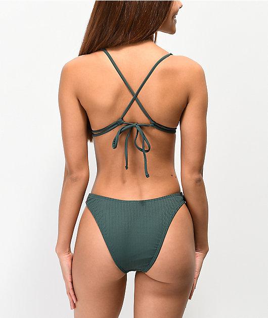 Damsel Aftan Rib Green High Leg Bikini Bottom
