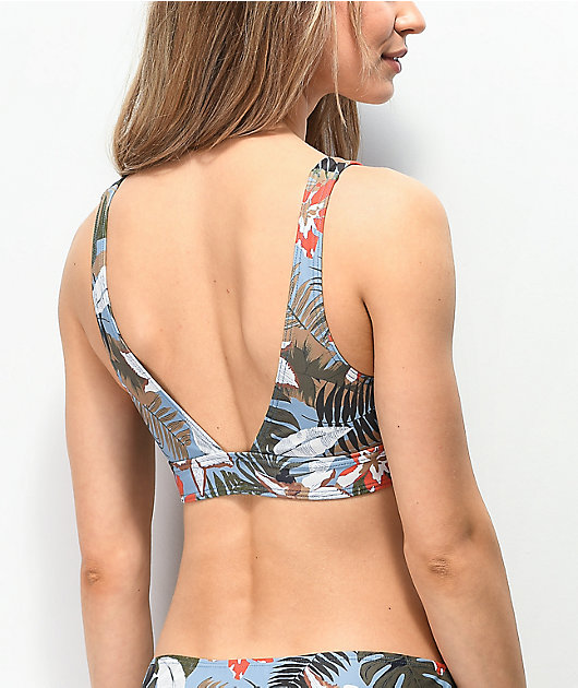 Damsel Blake top de bikini corpiño azul de hojas