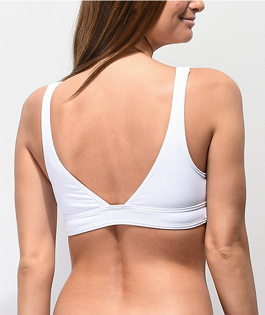 Damsel Blanco Flat Ribbed Bralette Bikini Top