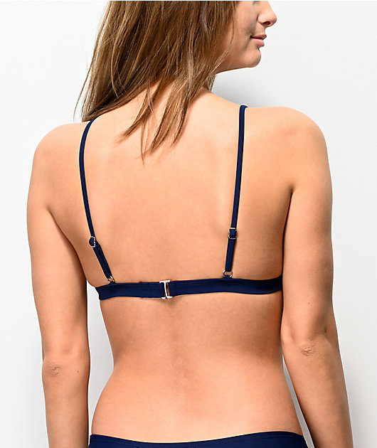 Damsel Colorblock top de bikini de triangulo azul marino