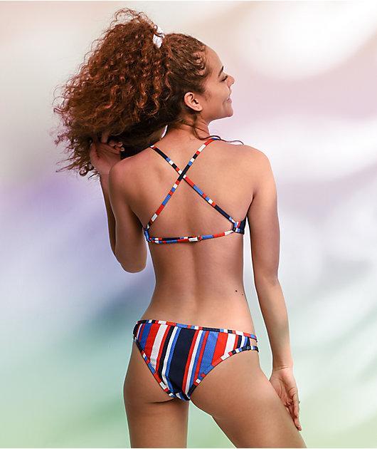 Damsel Daze Stripe Red, White & Blue Bralette Bikini Top