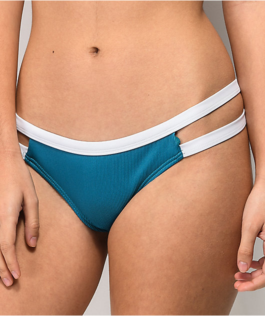 Damsel File Rib Atlas Blue Super Cheeky Bikini Bottom