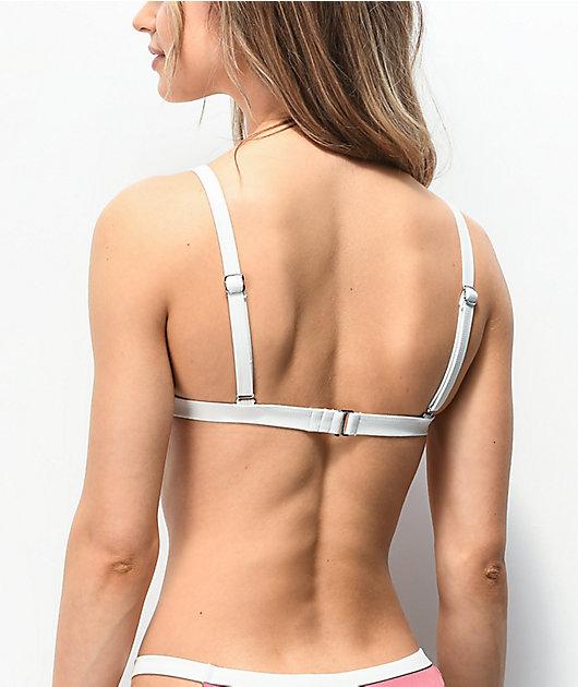 Damsel File Rib Jamie Pink Triangle Bikini Top