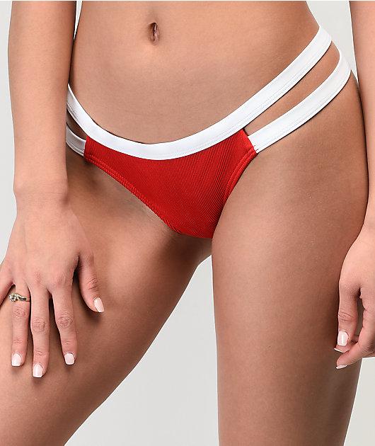 Damsel File Rib Red Lipstick Super Cheeky Bikini Bottom