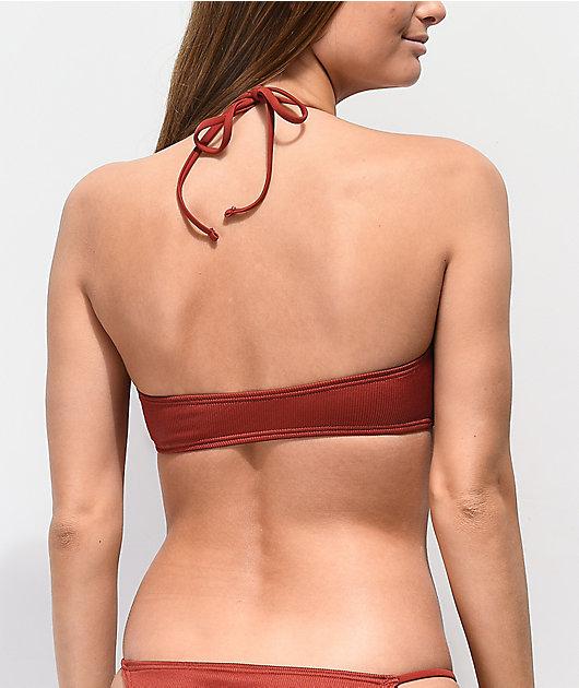 Damsel File Ribbed Brick Red Bandeau Bikini Top
