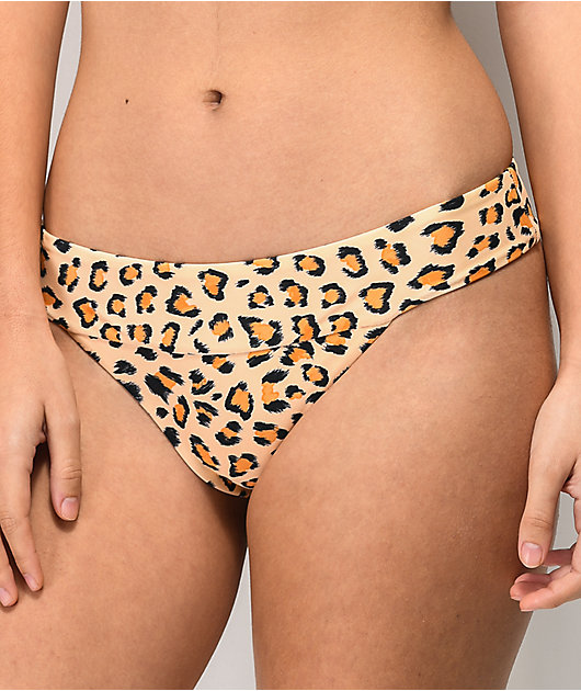 Damsel Into The Jungle Natural and Leopard Print Cheeky Bikini Bottom