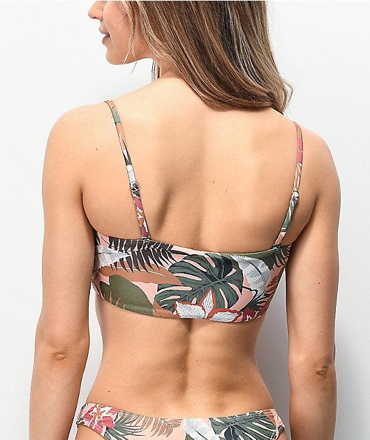 Damsel Linsey Pink Leaves Bandeau Bikini Top