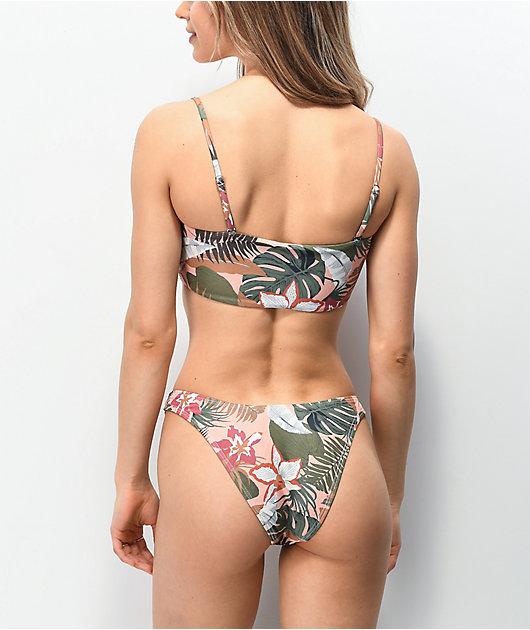 Damsel Linsey Pink Leaves High Leg Bikini Bottom