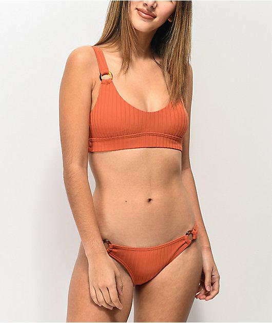 Damsel Majestic Super Rib Burnt Orange Cheeky Bikini Bottom