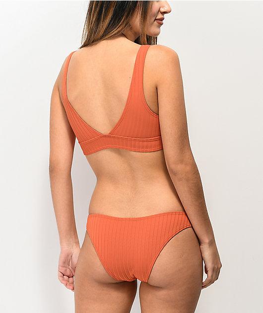 Damsel Majestic Super Rib braguitas de bikini de color naranja