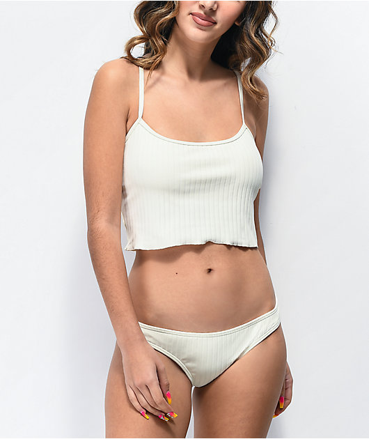 Damsel Megan Super Ribbed Cheeky White Bikini Bottoms