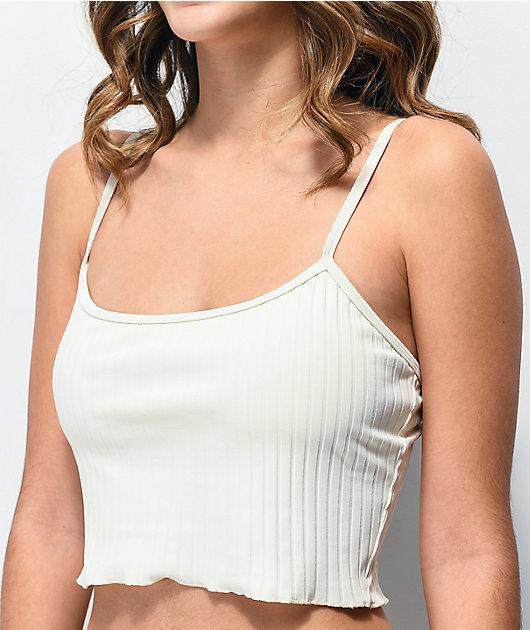 Damsel Megan Super Ribbed White Bikini Top