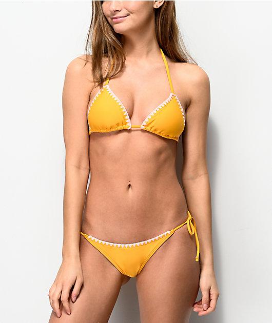 Damsel Whip Stitch Super Cheeky Yellow Bikini Bottom