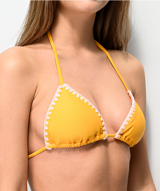 Damsel Whip Stitch Yellow Triangle Bikini Top