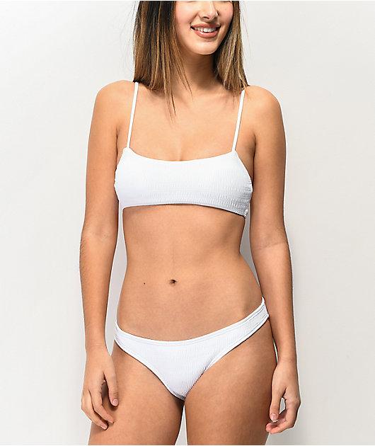 Damsel top de bikini blanco texturizado estilo corpiño