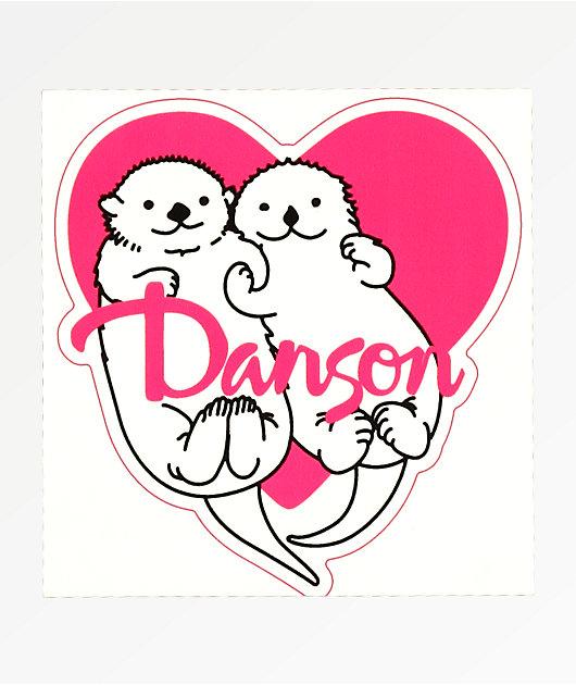 Danson Otter Love Pink & White Sticker