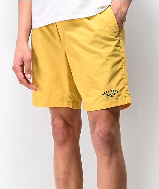 Dark Seas Landfall Yellow Elastic Waist Board Shorts