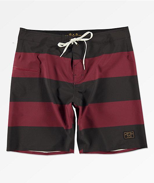 Dark Seas Overtide Black & Burgundy Board Shorts