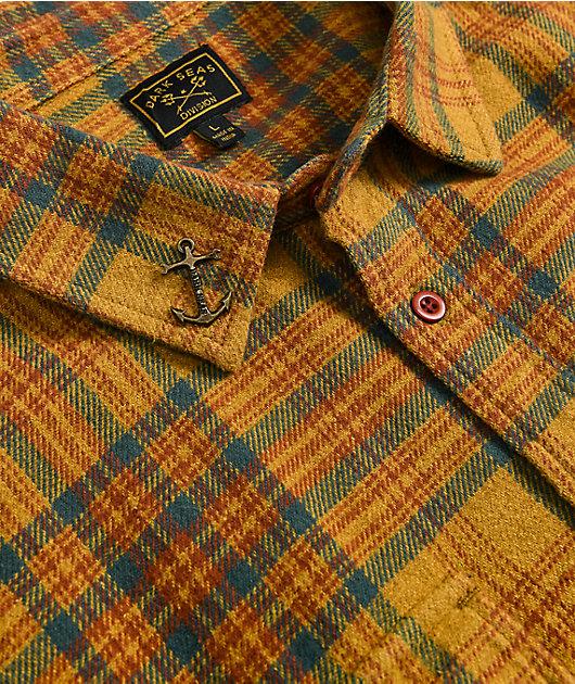 Dark Seas Zion Yellow & Orange Flannel Shirt