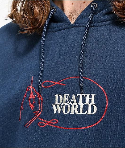 Deathworld Chainstitch sudadera con capucha azul marino