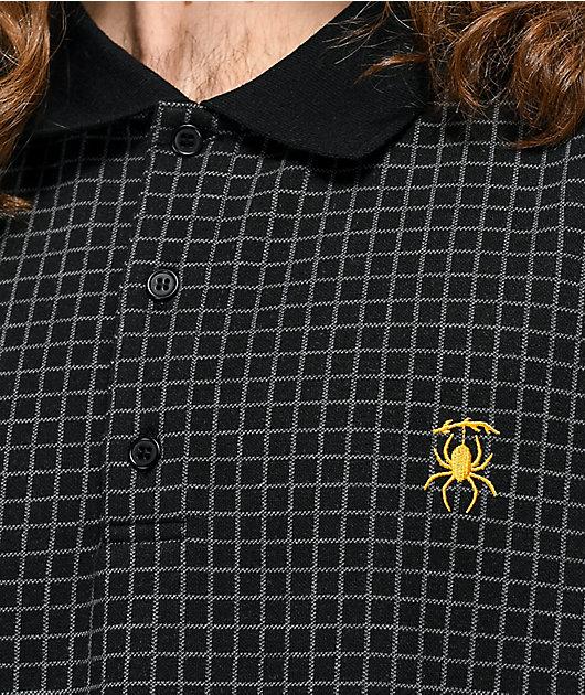 Deathworld Grid Black & Grey Long Sleeve Polo Shirt