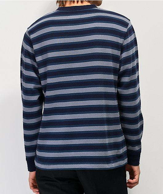Deathworld Paris Blue Striped Long Sleeve Pocket T-Shirt