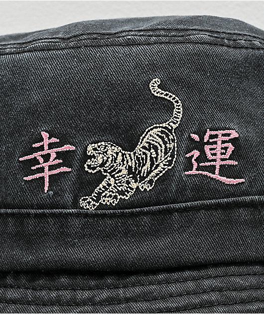 Desert Dreamer Good Luck Tiger Black Bucket Hat