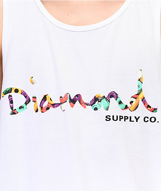 Diamond Supply Co. Bolts Script White Tank Top