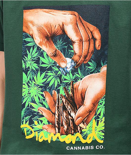 Diamond Supply Co. Cannabis Script Forest Green T-Shirt