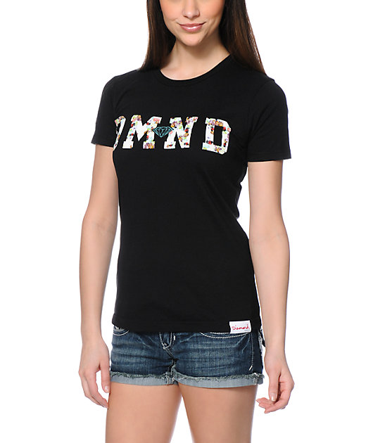Diamond Supply Co. DMND Floral Fill Black T-Shirt