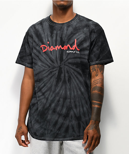 Diamond Supply Co. OG Script Black & Grey Tie Dye T-Shirt
