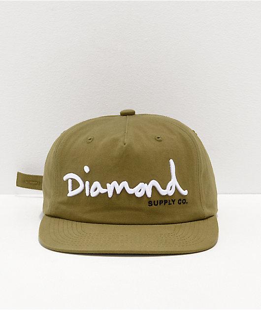 Diamond Supply Co. OG Script Olive Strapback Hat