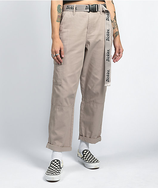 Dickies Belted Utility Khaki Cropped Cargo Pants