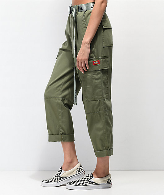 Dickies Belted Utility Olive Crop Cargo Pants
