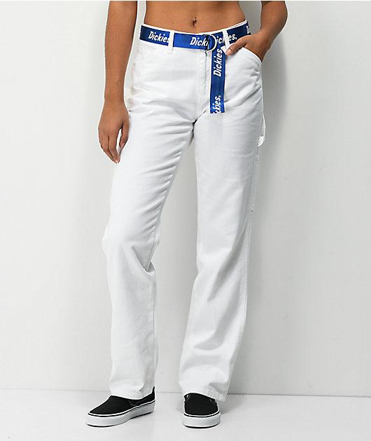 Dickies Belted White Carpenter Pants