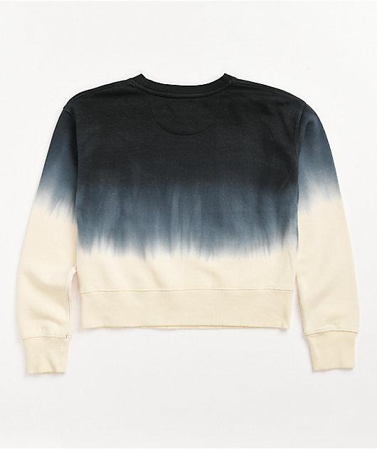 Dickies Black & White Dip Dye Crop Crew Neck Sweatshirt