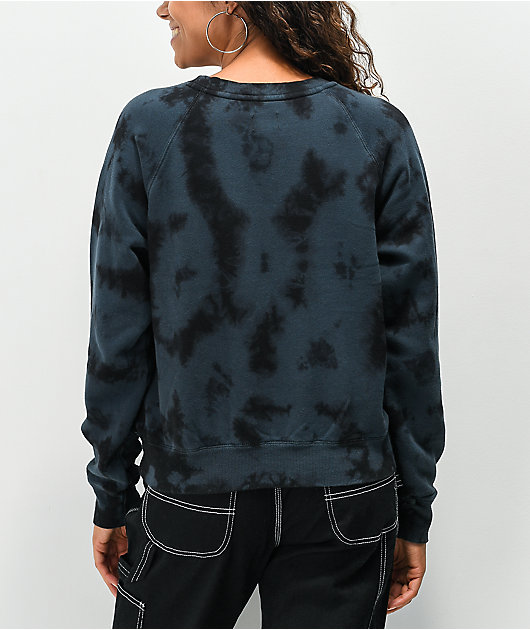 Dickies Blue & Black Tie Dye Cropped Crewneck Sweatshirt