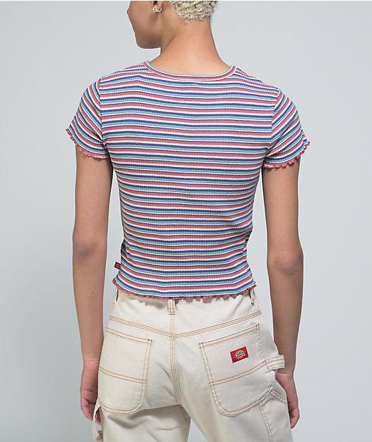 Dickies Blue & Red Stripe Crop Baby T-Shirt